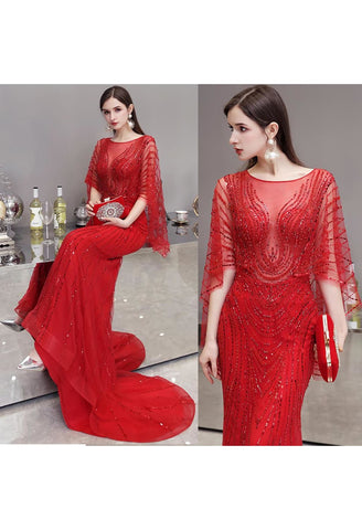 Image of Sheath Formal Dresses Luxury Starlit Rhinestones Sequins Embellished with Trumpet Sleeves - 7