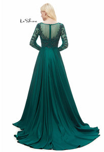 Sheath Pageant Dresses Gorgeous Sheer Neckline with Chiffon Tailing - 2