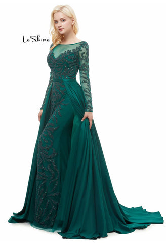 Image of Sheath Pageant Dresses Gorgeous Sheer Neckline with Chiffon Tailing - 5