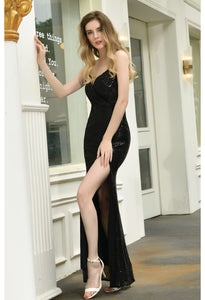 Sheath Party Dresses Junoesque Sequins Embellished Slit - 14