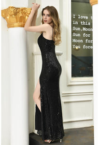 Sheath Party Dresses Junoesque Sequins Embellished Slit - 11