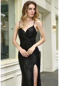 Sheath Party Dresses Junoesque Sequins Embellished Slit - 10