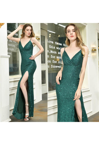 Image of Sheath Party Dresses Junoesque Sequins Embellished Slit - 7