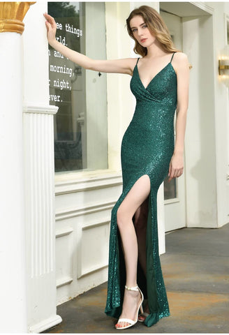 Image of Sheath Party Dresses Junoesque Sequins Embellished Slit - 6