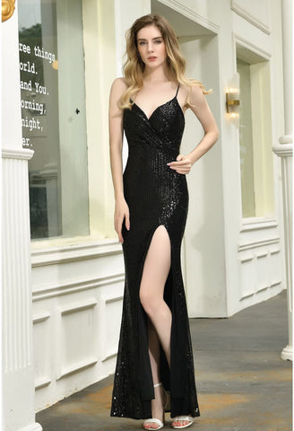 Image of Sheath Party Dresses Junoesque Sequins Embellished Slit - 12