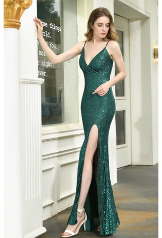 Image of Sheath Party Dresses Junoesque Sequins Embellished Slit - 5