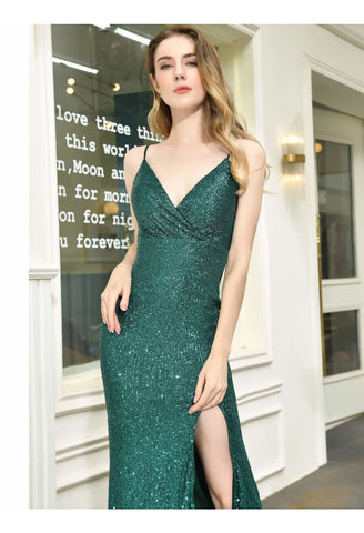 Image of Sheath Party Dresses Junoesque Sequins Embellished Slit - 4