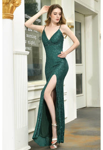Sheath Party Dresses Junoesque Sequins Embellished Slit - 1