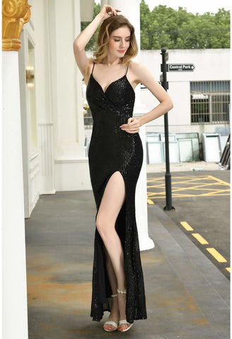Image of Sheath Party Dresses Junoesque Sequins Embellished Slit - 8