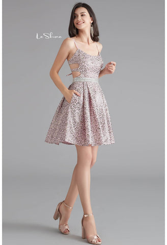 Image of Short Cocktail Dresses Spaghetti Straps with Pockets - 5