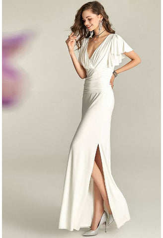 Image of Slit Maxi Dresses V-Neck Trumpet Sleeves - 1