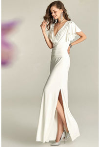 Slit Maxi Dresses V-Neck Trumpet Sleeves - 1