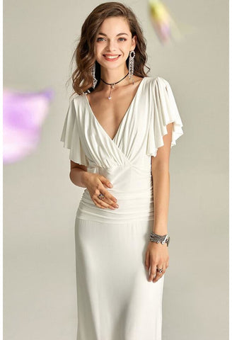 Image of Slit Maxi Dresses V-Neck Trumpet Sleeves - 3