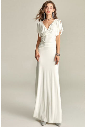 Image of Slit Maxi Dresses V-Neck Trumpet Sleeves - 2