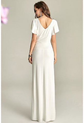 Image of Slit Maxi Dresses V-Neck Trumpet Sleeves - 4
