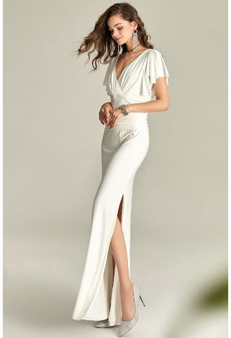 Image of Slit Maxi Dresses V-Neck Trumpet Sleeves - 5