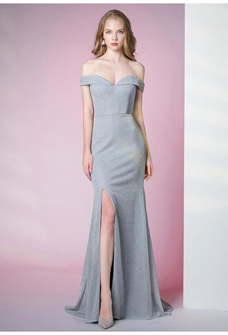 Image of Slit Sheath Party Dresses Brilliant One Shoulder - 1