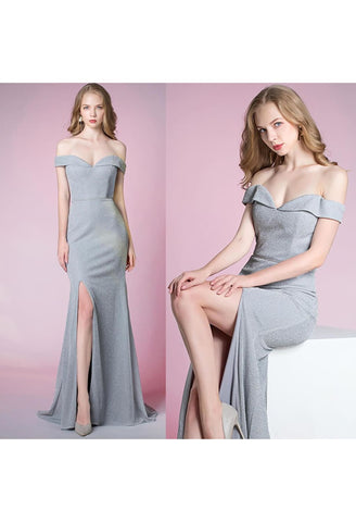 Image of Slit Sheath Party Dresses Brilliant One Shoulder - 6