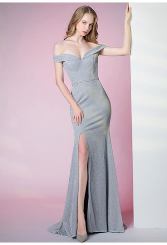 Image of Slit Sheath Party Dresses Brilliant One Shoulder - 4
