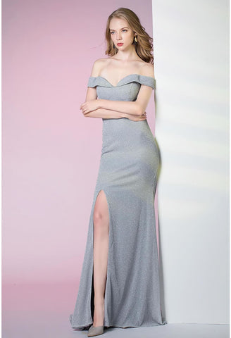 Image of Slit Sheath Party Dresses Brilliant One Shoulder - 5