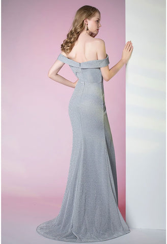 Image of Slit Sheath Party Dresses Brilliant One Shoulder - 3