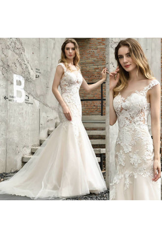 Image of Vintage Bride Dresses Glamorous Embroidery Lace Mermaid - 6