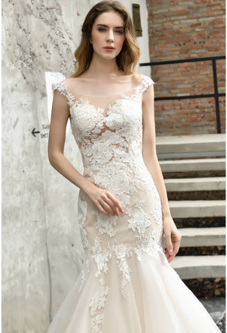 Image of Vintage Bride Dresses Glamorous Embroidery Lace Mermaid - 4