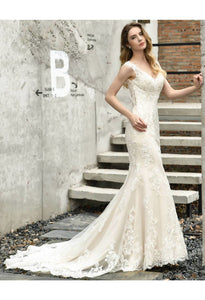 Vintage Bride Dresses Glamorous Embroidery Lace Mermaid with Chic Back - 4