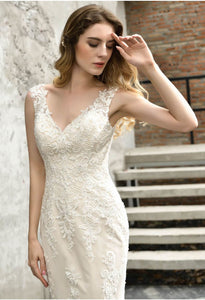 Vintage Bride Dresses Glamorous Embroidery Lace Mermaid with Chic Back - 6