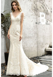 Vintage Bride Dresses Glamorous Embroidery Lace Mermaid with Chic Back - 3