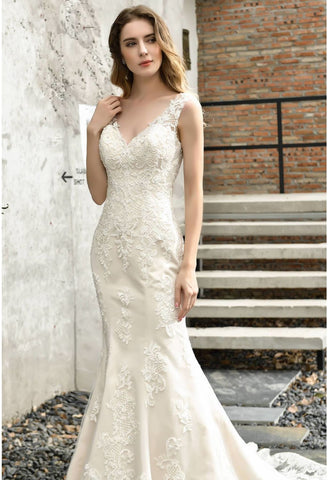 Image of Vintage Bride Dresses Glamorous Embroidery Lace Mermaid with Chic Back - 5