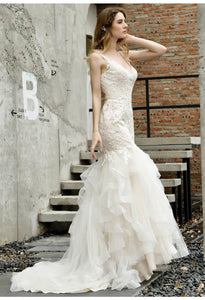 Vintage Bride Dresses Glamorous Embroidery Lace Tiered Mermaid - 1