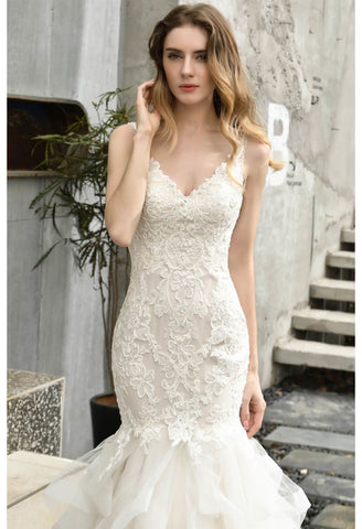 Image of Vintage Bride Dresses Glamorous Embroidery Lace Tiered Mermaid - 4