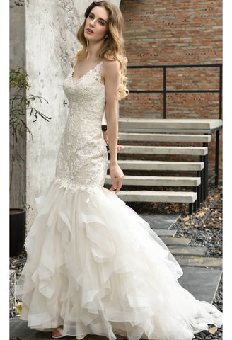 Image of Vintage Bride Dresses Glamorous Embroidery Lace Tiered Mermaid - 5