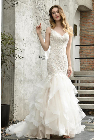 Image of Vintage Bride Dresses Glamorous Embroidery Lace Tiered Mermaid - 6