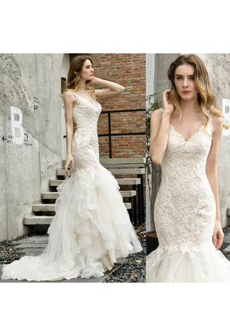 Vintage Bride Dresses Glamorous Embroidery Lace Tiered Mermaid - 8