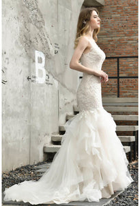 Vintage Bride Dresses Glamorous Embroidery Lace Tiered Mermaid - 7