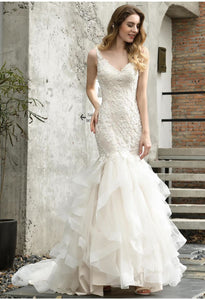 Vintage Bride Dresses Glamorous Embroidery Lace Tiered Mermaid - 3