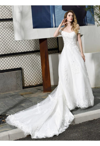 Image of Vintage Bride Dresses Glamorous Off Shoulder A-Line with Long Train - 5