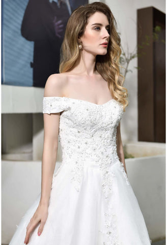 Image of Vintage Bride Dresses Glamorous Off Shoulder A-Line with Long Train - 2