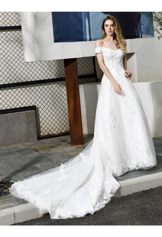 Image of Vintage Bride Dresses Glamorous Off Shoulder A-Line with Long Train - 3