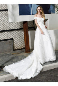 Vintage Bride Dresses Glamorous Off Shoulder A-Line with Long Train - 3