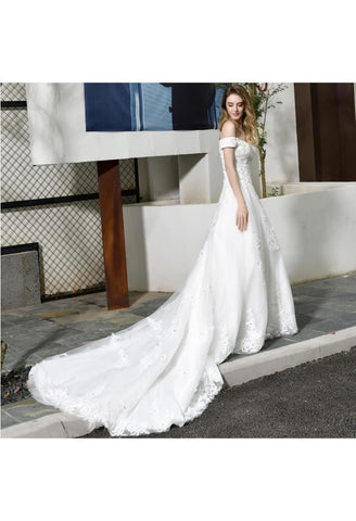 Image of Vintage Bride Dresses Glamorous Off Shoulder A-Line with Long Train - 7