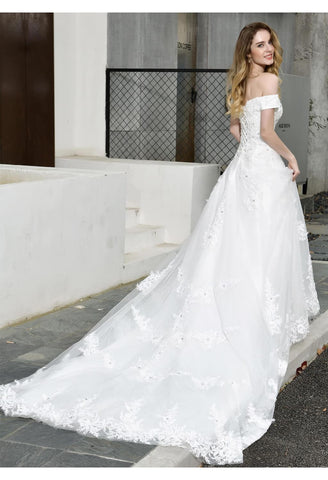 Image of Vintage Bride Dresses Glamorous Off Shoulder A-Line with Long Train - 4