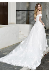 Vintage Bride Dresses Glamorous Off Shoulder A-Line with Long Train - 4
