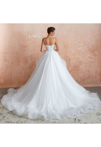 Image of Vintage Bride Dresses Spaghetti Straps Ruffles Ball Gown with Multilayer Tailing - 1
