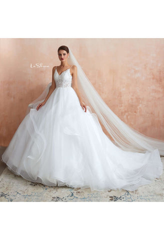 Image of Vintage Bride Dresses Spaghetti Straps Ruffles Ball Gown with Multilayer Tailing - 4