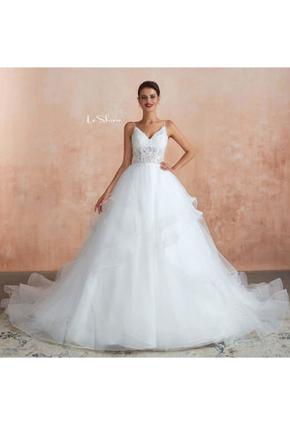 Image of Vintage Bride Dresses Spaghetti Straps Ruffles Ball Gown with Multilayer Tailing - 2