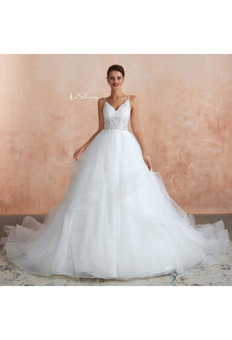 Image of Vintage Bride Dresses Spaghetti Straps Ruffles Ball Gown with Multilayer Tailing - 3