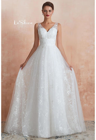 Image of Vintage Bride Dresses Sweetheart Neckline A-Line with Tailing - 4